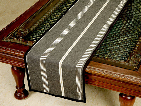 Jodhaa Stripe Table Runner in Cotton in Black and white stripes Color- Medium  21TBRA097