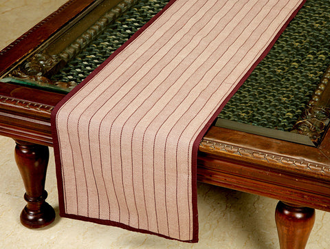 Jodhaa Reversable Stripe Table Runner in Cotton in Burgandy Color- Medium  21TBRA098