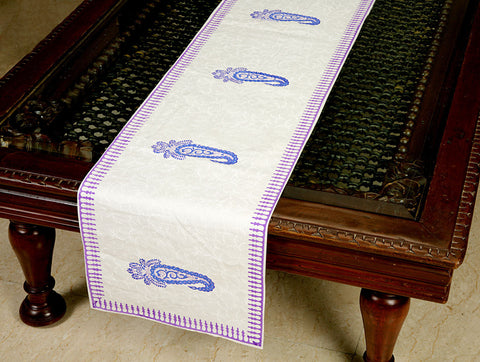 Jodhaa Printed Table Runner in Cotton in White/ Blue/Purple Color- Large  21TBRA102