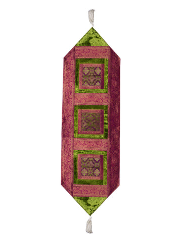 Jodhaa brocade & velvet green & pink color table runner - medium  21TBRA109