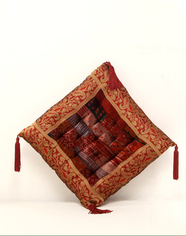 Designer Cushion in Velvet and Brocade in Earth Tones from Jodhaa