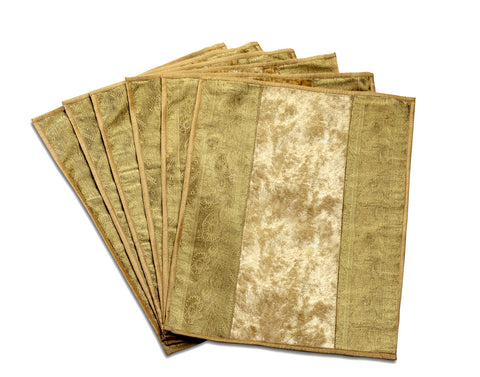 Jodhaa PLAIN BEIGE GOLD TABLE MATS SET              21TBMA027