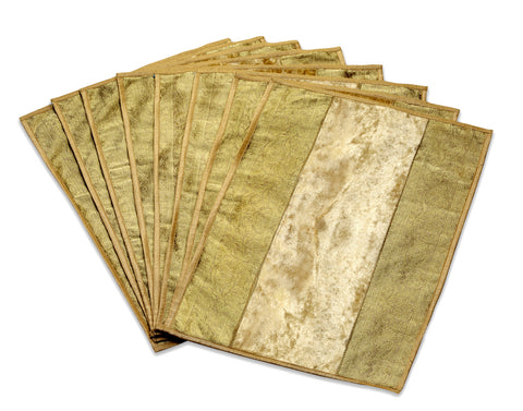 Jodhaa Table Mats Set of 8 in Velvet with brocade in Beige / Gold           21TBMA028