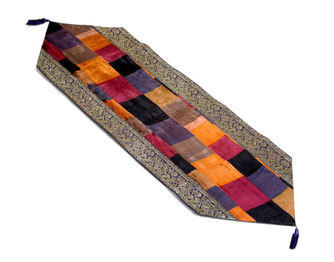 Jodhaa Table runner in Velvet and Brocade in Earth Tones     21TBRA044