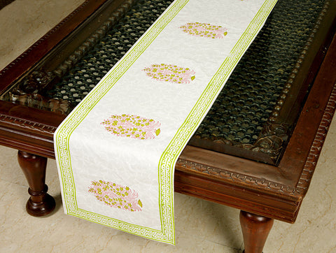 Jodhaa Printed Table Runner in Cotton in White/ Green Color- Large  21TBRA101