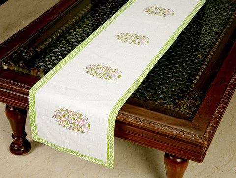 Jodhaa Printed Table Runner in Cotton in White/ Green Color- Large  21TBRA104