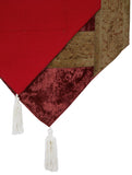 Jodhaa brocade & velvet maroon color table runner - Large 21TBRA112