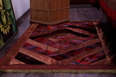 Jodhaa Velvet Carpet with Brocade border in Earth tones  21FMTA002
