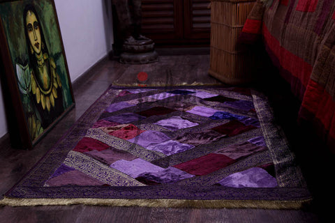 Carpet / Floor Rug in Velvet and Brocade Lavender / Purple               21FMTA003