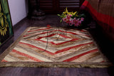 Jodhaa Carpet / Floor mat in Velvet and Brocade  Beige / Gold  21FMTA007