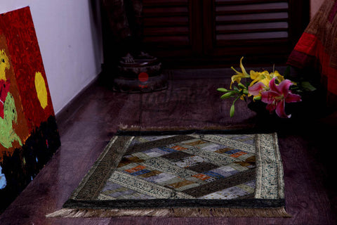 Jodhaa Carpet / Floor Rug in Velvet and Brocade in  Multi colors  21FMTA009