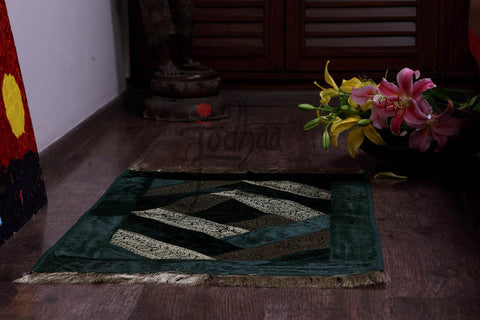 Jodhaa Carpet / Rug in Velvet and Brocade Green / Gold  21FMTA012