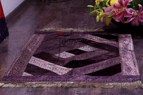 Jodhaa Floor Rug In Dark Brown Velvet Fabric  21FMTA013