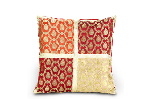 Jodhaa Cushion Cover with Brocade in Red/Gold    21CCVA009