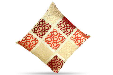Jodhaa Cushion Cover with Brocade in Red/Gold    21CCVA010