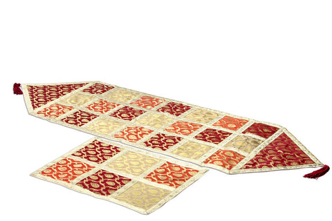 Jodhaa Table Runner in Patch Brocade in Red/Gold - Medium       21TBRA048