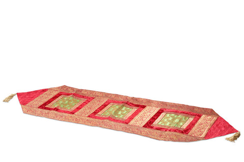 Jodhaa Table Runner in Velvet and Brocade in Red/Gold/Green - Medium      21TBRA050