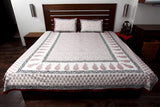 Jodhaa Double bedsheet Set in Cotton Printed in White, Maroon and Black with Maroon Border   11BSHD010