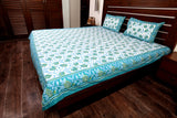 Double bedsheet designer Set in Cotton Printed in White, Blue and Green Colour from Jodhaa India