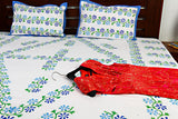 Jodhaa Double bedsheet Set in Cotton Printed in White, Dark Blue, Light Blue and Green Colour   11BSHD006