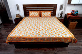 Double bedsheet designer Set in Cotton Printed in Plain White, Orange and Grey from Jodhaa India