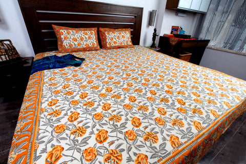 Double bedsheet designer Set in Cotton Printed in Plain White, Orange and Grey at Jodhaa India