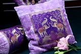 Velvet Cushion Cover with Brocade Patch Lavender /Gold                                21CCVA006