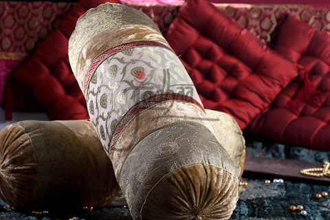 Designer Bolster in Velvet and Brocade