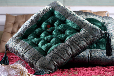 Designer Cushion in Velvet and Brocade Green