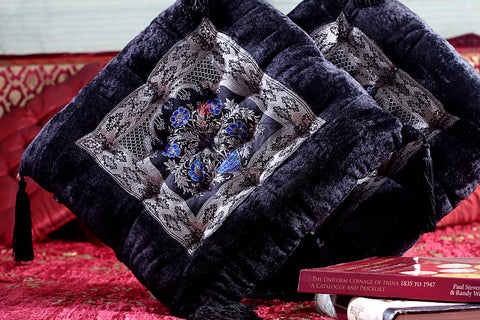 Designer Velvet Cushion in Black with Brocade Patch
