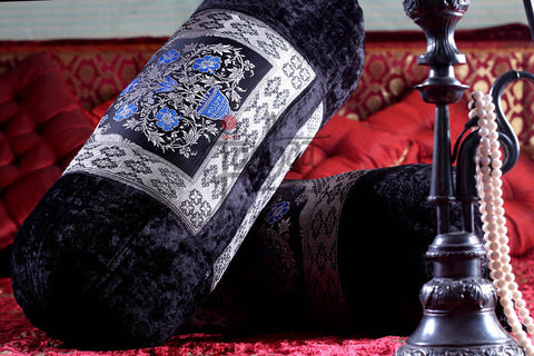 Designer Velvet Bolster in Black and Silver by Jodhaa