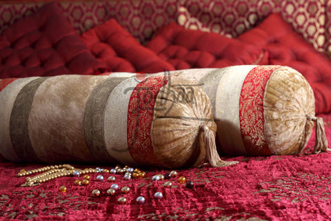 Bolster in Velvet / Brocade in Red / Gold                                    21BLTA007