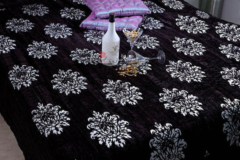 Designer Doubles Velvet Quilt / Razai in Black / silver at Jodhaa India