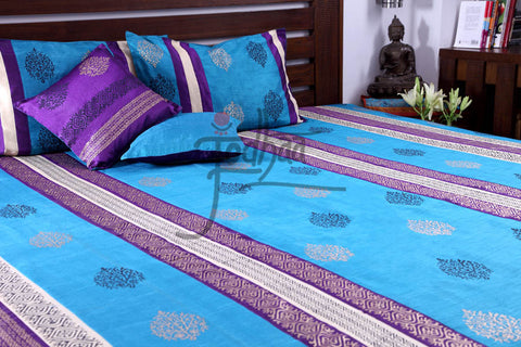 Jodhaa Doubles Bedcover set in art Silk with Terq and Purple print.- Queen Size  11BSTA006