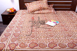 Double bedcover set in Cotton with Ivory and Orange paisley print - Queen Size                            11BSTA003