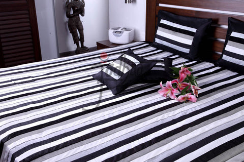 Jodhaa Larger Double bed Cover set in Velvet and Art Silk in Black Steel and Grey  11BSTA122