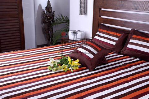 Jodhaa Larger Double bedcover set in Velvet and Art Silk in Brown/Wine Stripes  11BSTA124