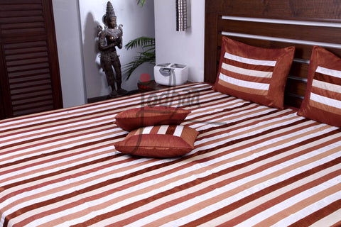 Jodhaa Double bedcover set in Velvet and Art Silk Brown stripes  11BSTA014