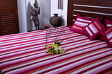 Jodhaa Double bed Cover Set in Velvet and Artsilk Stripe Pink/Wine  11BSTA016