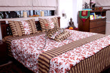 Jodhaa Double bed cover set in white and orange leaf embroidery  11BSTA027