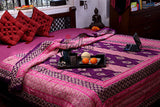 Designer Doubles Cotton Quilt /Razai Reversable in Purple and Pink - Queen Size