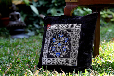 Velvet Cushion Cover in Black with Brocade patch                                   21CCVA003
