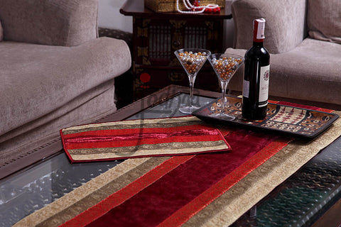Online shopping for Designer Table Runner in Red Velvet - Medium