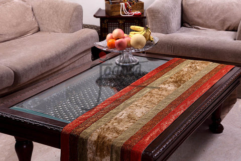 Jodhaa Table Runner in Brocade and Velvet in Red / Gold - Large  21TBRA033