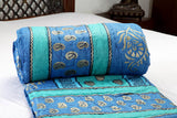 Designer Doubles cotton Razai / Quilt in Blue/Green/Black/Gold Combo at Jodhaa India