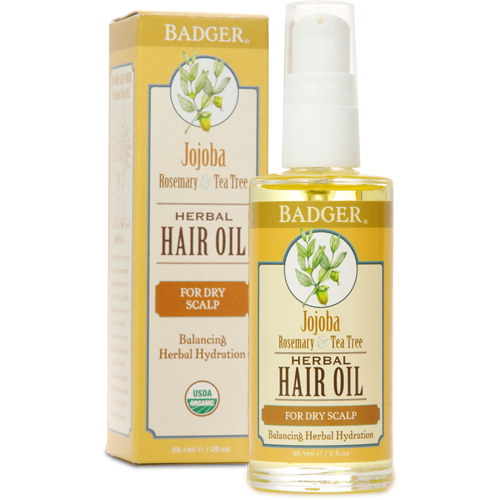 Badger Organic Jojoba Hair Oil for Dry Scalp 2fl oz 59ml