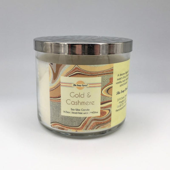 The Soap Opera Soy Wax Candle 14oz 411g - Gold & Cashmere