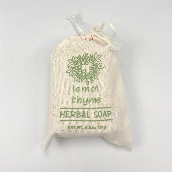 Greenwich Bay Herbal Bar Soap in Drawstring Cloth Sack 6.4oz 181g - Lemon Thyme