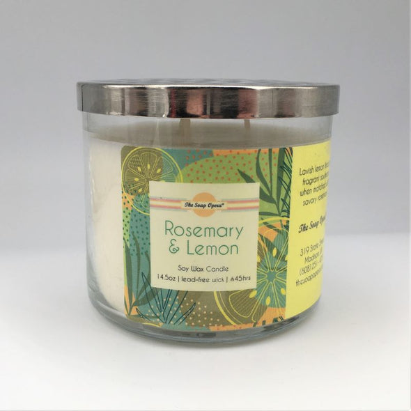 The Soap Opera Soy Wax Candle 14oz 411g - Rosemary & Lemon