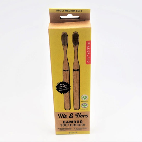 Kikkerland Bamboo Toothbrush - Set of 2